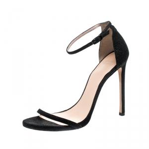 Stuart Weitzman Black Textured Leather Nudist Sandals Size 41 - used