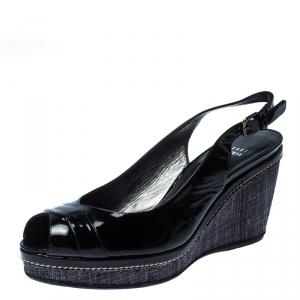 Stuart Weitzman Black Patent Leather and Raffia Peep Toe Wedge Sandals Size 40.5 - used