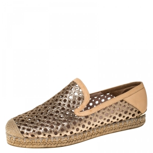 Stuart Weitzman Peach Perforated Glitter Leather Country Espadrille Flats Size 37 - used