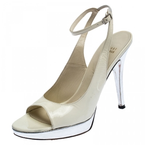 Stuart Weitzman White/Silver Patent Leather Open Toe Ankle Strap Platform Sandals Size 39.5 - used