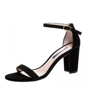 Stuart Weitzman Black Suede Ankle Strap Open Toe Sandals Size 37 - used