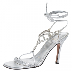 Stuart Weitzman Silver Crystal Embellished Leather Open Toe Ankle Tie Sandals Size 36 - used