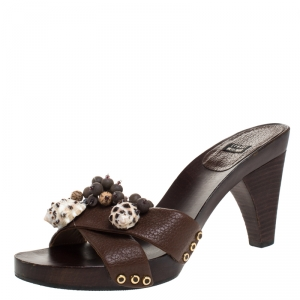Stuart Weitzman Brown Leather Conch Shell And Bead Embellished Wooden Platform Sandals Size 37 - used