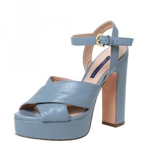 Stuart Weitzman Grey Leather Joni Platform Ankle Strap Sandals Size 38 - used