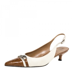 Stuart Weitzman White/Brown Canvas And Croc Embossed Leather Chain Detail Slingback Sandals Size 38 - used