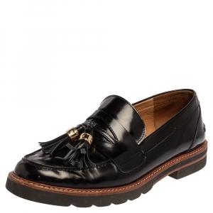 Stuart Weitzman Black Leather The Manila Loafers Size 39.5