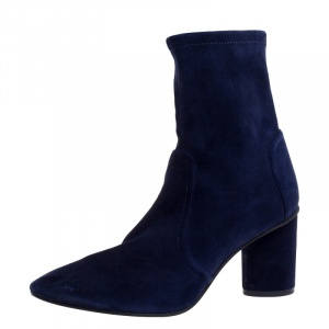 Stuart Weitzman Navy Blue Suede The Margot 75 Ankle Boots Size 40.5 - used