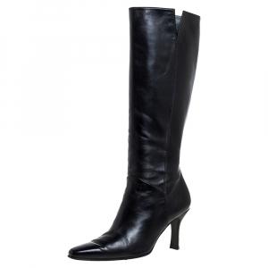 Stuart Weitzman Black Leather Zipped Knee High Boots Size 38