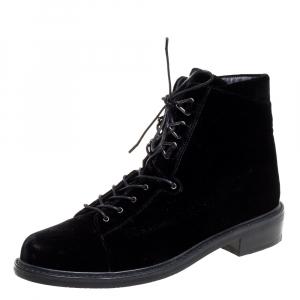 Stuart Weitzman Black Velvet Ankle Boots Size 39.5 - used