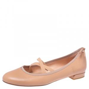 Stuart Weitzman Nude Beige Leather Bolshoi Ballet Flats Size 38