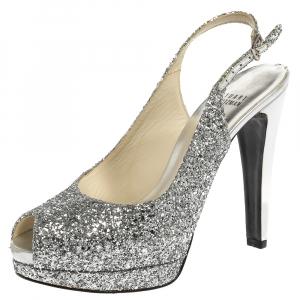 Stuart Weitzman Silver Coarse Glitter Peep Toe Slingback Sandals Size 38.5