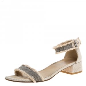 Stuart Weitzman Beige Tweed Nudistchains Sandals Size 39