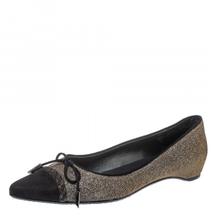 Stuart Weitzman Black Glitter Fabric And Suede Bow Pointed Cap Toe Ballet Flats Size 38.5 - used