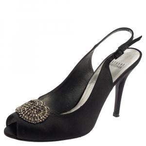 Stuart Weitzman Black Satin Crystal Embellished Slingback Sandals Size 41 - used