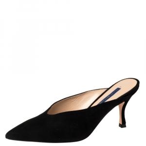 Stuart Weitzman Black Suede Lulah Mule Sandals Size 37.5