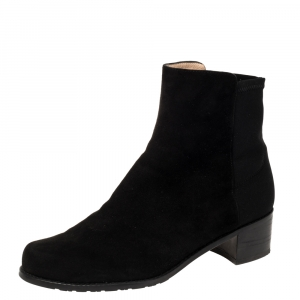 Stuart Weitzman Black Suede And Fabric Ankle Boots Size 38.5 - used
