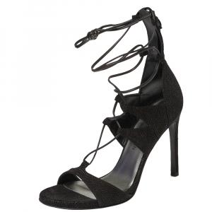 Stuart Weitzman Black Textured Suede Goose Bump LegWrap Sandals Size 38 - used