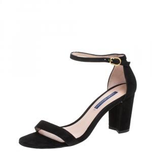 Stuart Weitzman Black Suede Ankle Strap Sandals Size 37.5