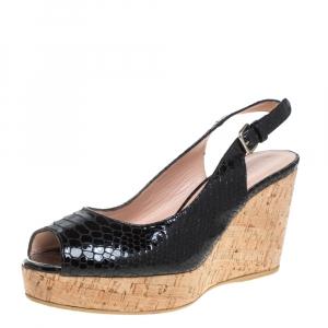 Stuart Weitzman Black Python Embossed Patent Leather Cork Wedge Slingback Sandals Size 38.5 - used