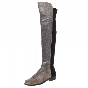 Stuart Weitzman Multicolor Lurex And Stretch Fabric Knee Length Boots Size 37.5 - used