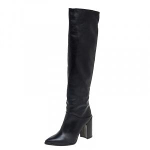 Stuart Weitzman Black Leather Knee Length Boots Size 38 - used