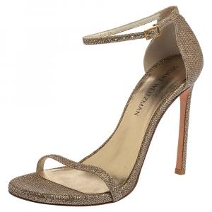 Stuart Weitzman Gold Glitter Fabric Nudist Sandals Size 39 - used