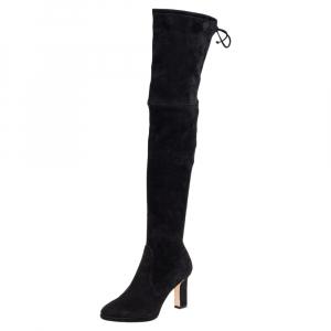 Stuart Weitzman Black Suede Ledyland Over-The-Knee Boots Size 35.5 - used