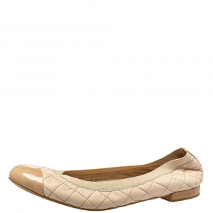 Stuart Weitzman Beige Leather And Patent Ballet Flats Size 38.5 - used