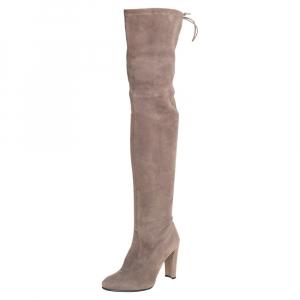 Stuart Weitzman Grey Suede Tie Land Over The Knee Block Heel Boots Size 36