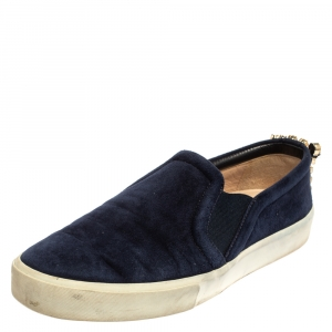 Stuart Weitzman Blue Suede Crystal Slip on Sneakers Size 38 - used