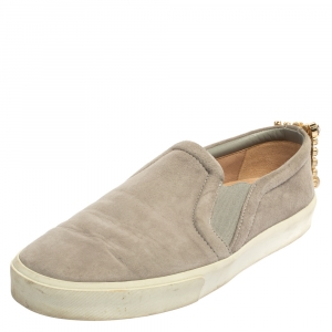 Stuart Weitzman Grey Suede Crystal Slip on Sneakers Size 38 - used