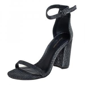 Stuart Weitzman Grey/Black Glitter Ankle Strap Sandals Size 38