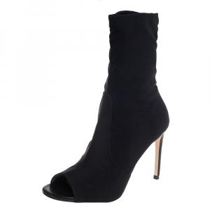 Stuart Weitzman Black Stretch Knit Hugger Open Toe Sock Boots Size 38.5 - used