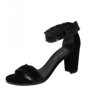 Stuart Weitzman Black Velvet Frayed Ankle Strap Block Heel Sandals Size 40 - used