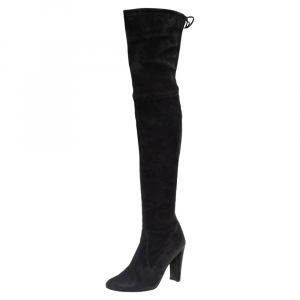 Stuart Weitzman Black Suede Highland Thigh High Boots Size 37.5 - used