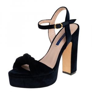 Stuart Weitzman Navy Blue Velvet Mirri Platform Sandals Size 38 - used