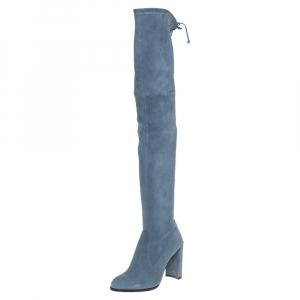Stuart Weitzman Teal Blue Suede Highland Over The Knee Boots Size 38.5 - used