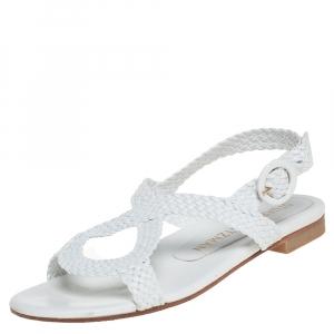 Stuart Weitzman White Braided Leather Theodora Flat Sandals Size 37.5 - used