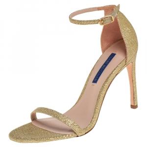 Stuart Weitzman Gold Glitter Ankle Strap Sandals Size 37 - used