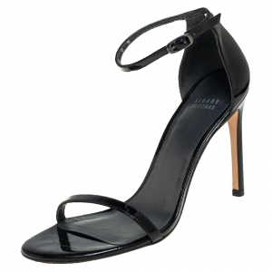 Stuart Weitzman Black Patent Leather Nudistsong 105 Sandals Size 39.5 - used