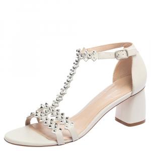Stuart Weitzman White Leather Studded Sandals Size 40 - used