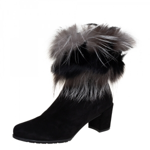 Stuart Weitzman Black Suede And Fox Fur Befoxy Londra Ankle Boots Size 39 - used