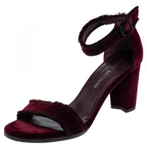 Stuart Weitzman Bordeaux Velvet Frayed Ankle Strap Sandals Size 40 - used