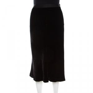 T By Alexander Wang Black Velvet Flounce Midi Skirt S