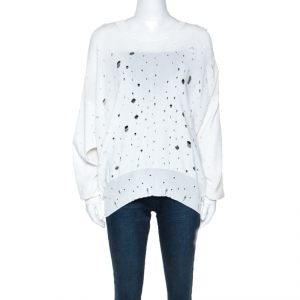 T by Alexander Wang White Knit Distressed Hole Detail Oversized Sweater M