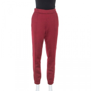 T by Alexander Wang Burgundy Knit Stretch Logo Tape Detail Track Pants S