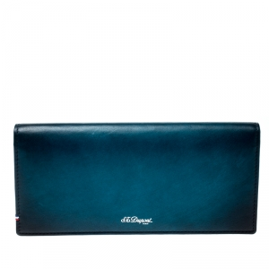 S.T. Dupont Blue/Black Ombre Leather Atelier Bifold Long Wallet