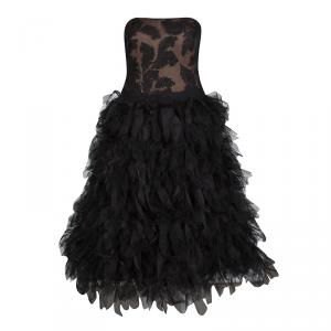 Tadashi Shoji Black Tulle Embroidered Faux Feather Strapless Dress M