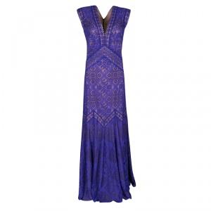 Tadashi Shoji Purple and Beige Floral Embroidered Lace Maxi Dress L -