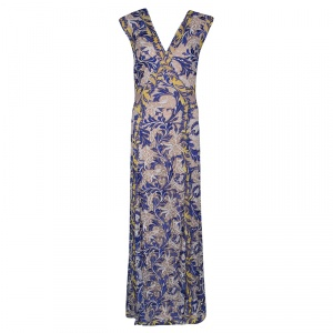 Tadashi Shoji Multicolor Floral Embroidered Tulle Amalie Gown M